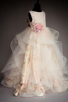 Image may contain: one or more people Girls Pageant Dresses, Gowns For Girls, Little Dresses, Little Girl Dresses, Cute Dresses, Beautiful Dresses, Flower Girl Dresses, Flower Girls, Little Girl Fashion