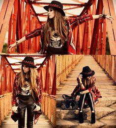 Perfect tribal + leather convo Aremo  Coat, Romwe T Shirt, Vida Kush Floral Headband