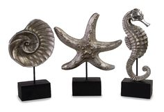 Sea life on Stands Set of 3 Seahorse Starfish Shell Silver D | Furniture, home decor, wall decor, rugs, lamps, lighting outlet.