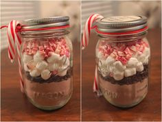 Just buy your favorite hot cocoa mix, mini marshmallows, mini chocolate chips, and Andes peppermints and layer them all in a mason jar. Description from mykeepcalmandcarryon.com. I searched for this on bing.com/images