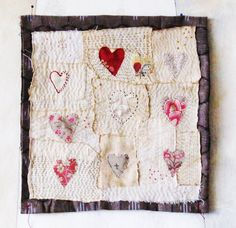 Art quilt patchwork embroidered stitched cloth by ColetteCopeland