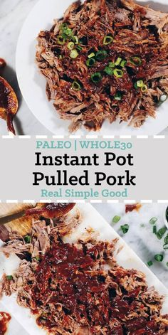 This Instant Pot Whole30 Pulled Pork with BBQ Sauce is the perfect way to utilize your Instant Pot! Also, we made the yummiest Whole30 friendly BBQ Sauce! | realsimplegood.com