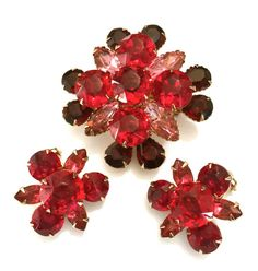 Shades of Red Rhinestone Demi Floral Rhinestone by Vintageimagine