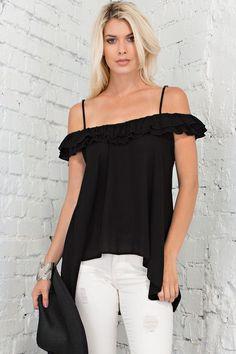 472ee1c7eacb Black off the shoulder top for perfect summer style! Off Shoulder Blouse,  One Shoulder