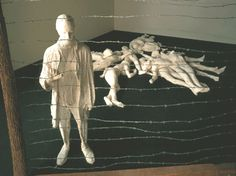 George Segal: The Holocaust, 1982. Plaster, wood, wire. Plaster figures are arranged to evoke feelings of sadness at the atrocities of the Holocaust. Figures are constructed by layering plaster strips over models. The hardened strips are then cut away from the model and reassembled. Segal pioneered the use of plaster casting strips in the creation of figurative sculptures.