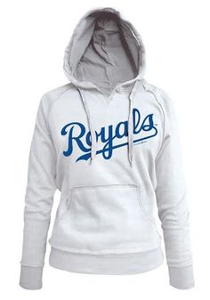 5b2c7709951065 Kansas City Royals Womens Hooded Sweatshirt - White Royals Brushed Fleece  Long Sleeve Hoodie