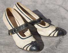 Image detail for -1920's Nautical leather flapper shoes womens 6 by StarShineVintage