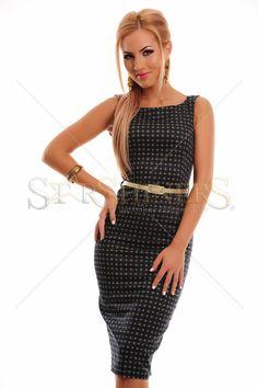 Rochie PrettyGirl scurta, din bumbac, potrivita pentru un look pretios si chic.