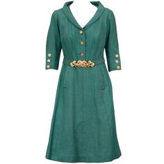 Chanel Haute Couture Green Linen Afternoon Dress | From a collection of rare vintage day dresses at http://www.1stdibs.com/fashion/clothing/day-dresses/