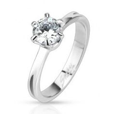Stainless Steel Ring with Cubic Zirconia    Material: stainless steel  Gemstone: 1/1.43ct cubic zirconia   Width: 7.50mm at widest point