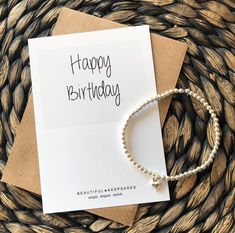 Happy Birthday | 3mm Silver Plated  Beaded Stacker | Silver Plated Bracelet | Personalised Birthday Gift | Gift for her | Rose Gold | Gold