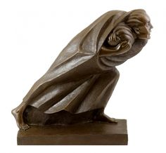 Bronze sculpture - The Refugee (1920) - sign. Ernst Barlach