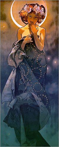 Wandbild von Alfons Mucha - The Moon