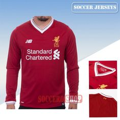 Customizable Good Red Liverpool Long Sleeve Home New Soccer Jerseys With My Name 2017 2018 Personalisation