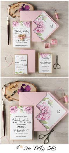 Pink Calligraphy Wedding Invitation #pink #boho #bohemian #calligraphy #floral #flowers #botanical