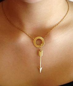 Gold Piercing Arrow Lariat Necklace
