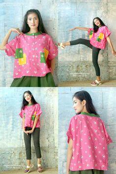 Batik Amarillis's United color of Jumputan (Indonesia's traditional tie dye) Our new series of the most Juiciest Tie Dye collection, EVER! Blouse Batik, Batik Dress, Batik Kebaya, Sewing Magazines, Baby Girl Tops, Batik Fashion, Blouse Designs, Dan, Ready To Wear