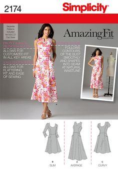 (pockets!) Simplicity pattern 2174: Misses' & Miss Petite Amazing Fit Dresses. Dress pattern.