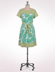 Plus Size Belted Border Print Dress   Dressbarn