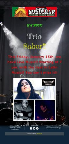 This Friday, January we have Live Music! Starting at 7 pm. with the best in Latin Music! Latin Music, Create Website, Live Music, Shout Out, Events, Happenings