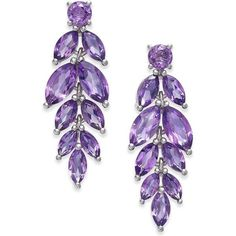 Amethyst Vine Drop Earrings (5-3/4 ct. t.w.) in Sterling Silver ($350) ❤ liked on Polyvore featuring jewelry, earrings, purple, drop earrings, amethyst jewelry, sterling silver round earrings, sterling silver jewellery and purple jewelry