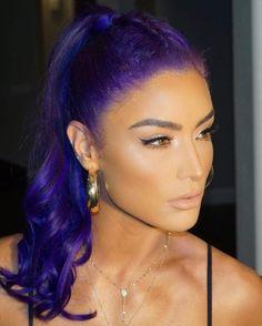 Eva Marie WWE Red Violet Hair, Red Brown Hair, Bright Red Hair, Burgundy Hair, Brown Hair Colors, Purple Hair, Colorful Hair, Peekaboo Highlights, Purple Highlights