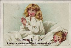 CHROMO CHOCOLAT POULAIN - GIRL AND BOY IN BED WITH GIRL PRAYING | par patrick.marks