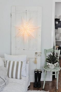 coastal decorating ideas for Christmas. think I might have to get that star from Ikea.....
