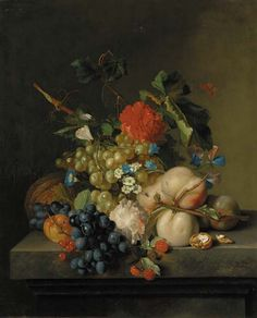 CIRCLE OF JAN VAN HUYSUM (AMSTERDAM 1682-1749) GRAPES ON THE VINE, PEACHES, A MELON, REDCURRANTS, A SPLIT WALNUT, WITH MORNING GLORY, OTHER FLOWERS AND A BUTTERFLY ON A MARBLE PLINTH