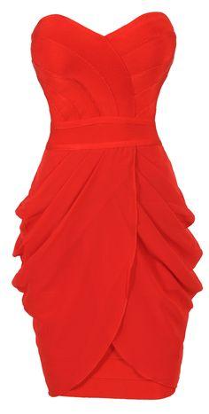 Red Strapless Drape Bandage Dress