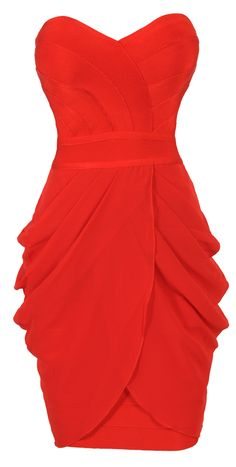 'Corey' Red Strapless Drape Bandage Dress