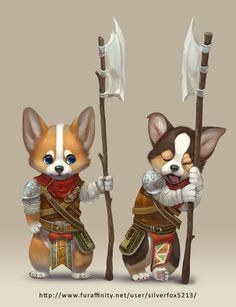 Corgi Guards by Silverfox5213 armor clothes clothing fashion player character npc | Create your own roleplaying game material w/ RPG Bard: www.rpgbard.com | Writing inspiration for Dungeons and Dragons DND D&D Pathfinder PFRPG Warhammer 40k Star Wars Shadowrun Call of Cthulhu Lord of the Rings LoTR + d20 fantasy science fiction scifi horror design | Not Trusty Sword art: click artwork for source
