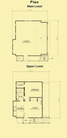 Garage With Apartment Plans & Garage Apartment Building Plans. I like this layout if you just remove the wall between the living room and the bedroom - April 27 2019 at Garage Apartment Plans, Garage Renovation, Apartment Entryway, Garage House Plans, Garage Apartments, Apartment Layout, Best House Plans, Cool Apartments, Car Garage