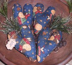 4 Primitive Christmas Angels JOY Blue Hearts Bowl Fillers Ornies Ornaments Tucks #Primitive #ChooseMoosePrimitiveDesigns