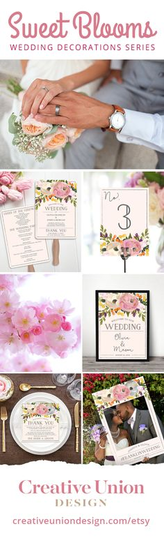 Have a BEAUTIFUL WEDDING and SAVE MONEY at the same time! Our Sweet Blooms series covers everything you need for your wedding at a fraction of the cost. Wedding Invitations, Table Numbers, Programs, Welcome Sign, Place Cards & Photo Prop. #weddingplanning #wedding #weddingideas #engaged