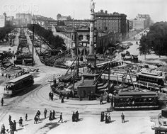 Construction at Columbus Circle, - New York City - Gilded Age, c.1890s