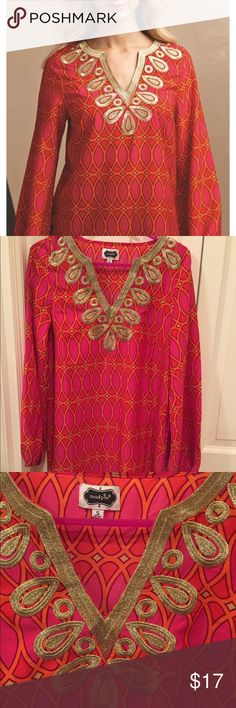 "Embroidered Tunic Top Sz S Gold stitching around neck, ""cranberry and orange"" design, longer tunic length that can be worn with leggings or tucked into jeans with a belt, perfect condition! Texture feels like silk but is polyester Mud Pie Tops Tunics"
