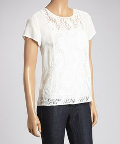 Look what I found on #zulily! White Sheer Lace Cap-Sleeve Top by Fashion Ai #zulilyfinds