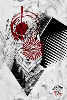 Wolf abstrakt Tattoo Design Tattoomotive Abstrakt Tattoo, Trash Polka Tattoo, Japanese Tattoo Designs, Wolf Tattoos, Drawing Ideas, Tatting, Tattoo Ideas, Artsy, Plate
