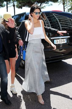 Kendall Jenner in a Sally Lapointe skirt in Cannes. More of her street style looks here.