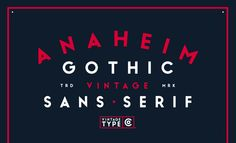 Anaheim Gothic [New Font] by  Sean CoadyAnaheim Gothic is a bold, geometric, sans serif display font inspired by and designed for vintage logo & packaging design. Despite this, Anaheim Gothic works for a wide variety of applications and is sure to be your new favourite weapon of choice.Download it here: http://crtv.mk/p0NlO