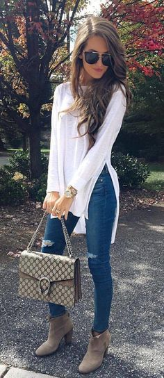 #fall #outfits White Top + Ripped Skinny Jeans