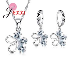 Personality Asymmetry Crystal CZ Diamond Flower Butterfly Necklace Earrings Sets Bijoux Wedding Dress Accessories Jewelry