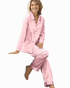 Womens Pink Satin Pajamas