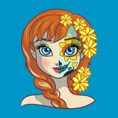 Disney Drawing Sugar Skull Series: Anna by ellador Disney Fan Art, Disney Pixar, Disney E Dreamworks, Disney Amor, Cute Disney, Disney Girls, Disney Cartoons, Disney Frozen, Disney Movies