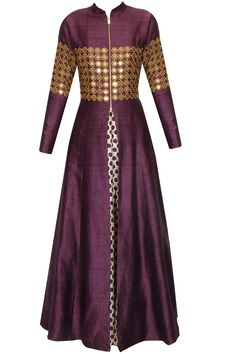 Purple star embroidered jacket kurta with beige inner gown available only at Pernia's Pop Up Shop.
