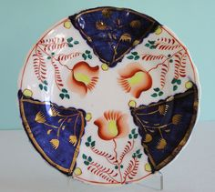 Small Staffordshire Tulip Pattern Gaudy Welsh Flow Blue Lustre Plate | eBay