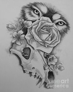 wolf, eyes, tattoo, rose, skull, flower, greyscale, art, paint, painting, canvas, drawing, print, tattoo shop, tattoo artist, Suzanne Buttle, art for sale,