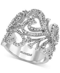 Effy Diamond Heart Leaf Ring (9/10 ct. t.w.) in 14k White Gold - Gold