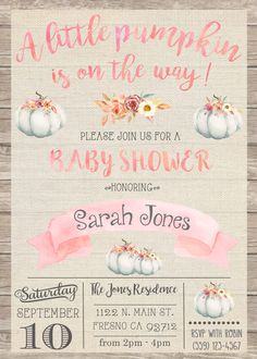 Little Pumpkin Baby Shower Invitation Invite Rustic Shabby Chic Pink Peach Watercolor Our Little Pumpkin A Little Pumpkin Fall Autumn Wood Burlap Flowers Garden